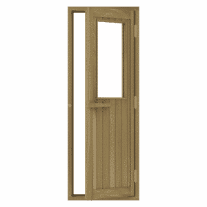 Cedar Door with Glass Window, Right Hand Opening, 690×1890 mm