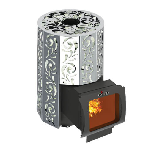 Grill'D Violet Steel Long Window Max with Jade StonesWood-Burning Sauna Heater / Stove