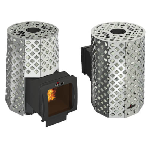 Grill'D Violet Steel Romb Long Window Max with Jade StonesWood-Burning Sauna Heater / Stove