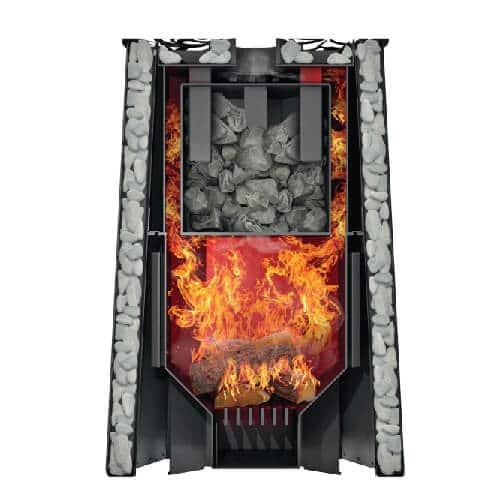 Grill'D Violet Steel Romb Short Window Max with Jade StonesWood-Burning Sauna Heater / Stove